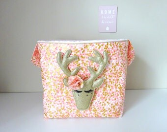 Toys basket pink and gold confetti toys bag sequined gold deer head fluff to order