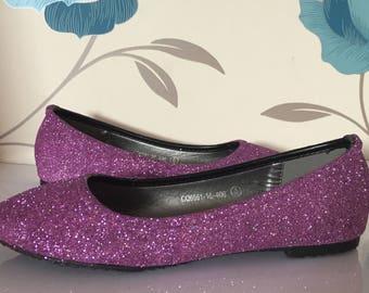 Lilac Glitter Flats - Purple - Bridal Shoes - Bridesmaid - Wedding - Prom - Customised Shoes - Glitter - UK Size 3-8
