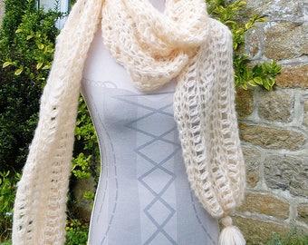 Peach * stole - shawl - scarf - scarf - scarf with fringe tassel * wool gift idea