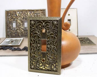 Mid Century Hollywood Regency Filigree Switch Plates, Vintage Brass Electrical Outlet Switchplate Covers, Architectural Salvage