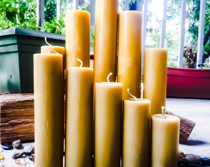 Unique extra tall pure beeswax pillar candles-