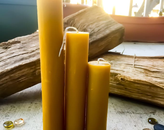 "Organic Pure Beeswax 1.5"" pillar candles-set of 3 candlestick pillar candle-pure organic beeswax pillar candles-set of 3 pure beeswax candle"