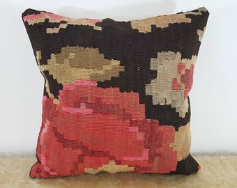 Floral Kilim Pillow Cover Rose Design