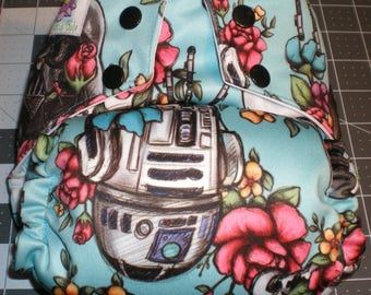 Blue Floral Star Wars Semi Custom Cloth Diaper Pocket Cover All in One All in Two Little Lotus Buds One Size Nappy Baby Shower Gift