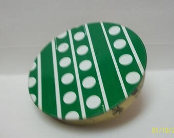 Vintage  Noisemaker Party Toy  Green  With White Polka Dots Tin Litho New Years Eve  Wind up Noisemaker