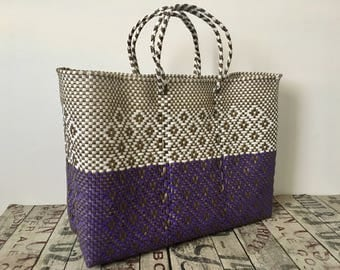 XL MEXiCAN BAG, Made in Oaxaca, handwoven bag, plastic tote