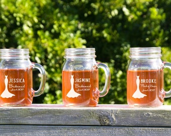 Wedding Party Mason Jars, 8 Sippy Cup, Personalized Mug With Handle, Bridesmaid Gift, Etched Mason Jars, Rustic Wedding