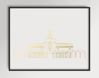 LDS Bountiful Utah Temple Gold Foil Print