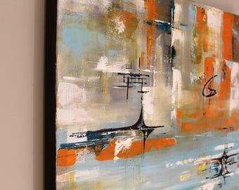 Mid-century modern art funky abstract painting