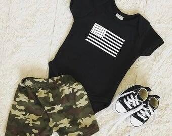 American Flag Onesie - Baby Boy Onesie