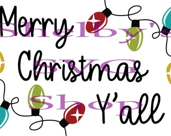 Merry Christmas Y'all - svg eps dxf pdf png