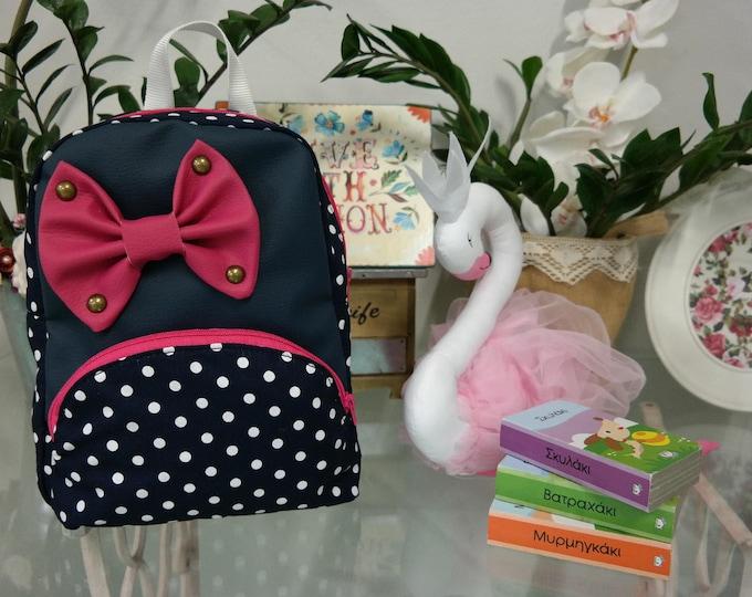 Baby School Blue Polka Dot Backpack