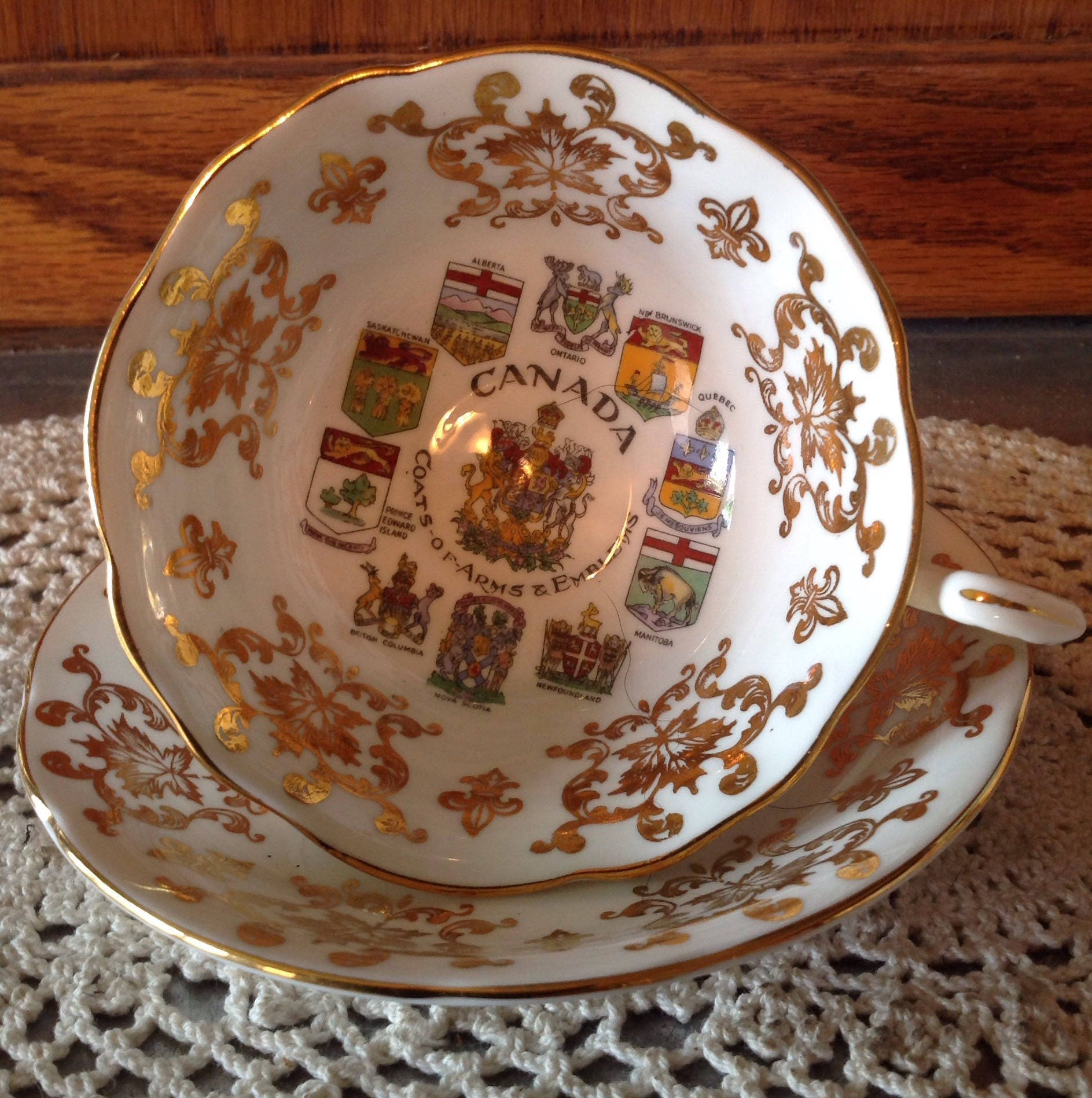 paragon tea cup and saucer canada white u0026 gold gilt vintage