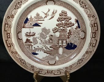 A rare and beautiful, brown, cobalt clobbbered transferware plate