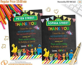 50% OFF SALE Sesame Street, Thank you card, Sesame Street Thank You Card, Elmo Thank you card, Cookie Monster Thank you card, Printable, DIY