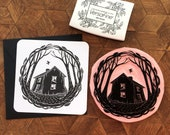 Derelict house - Handprinted card with a house. Lovely black envelope included, 4.7 * 4.7 inches