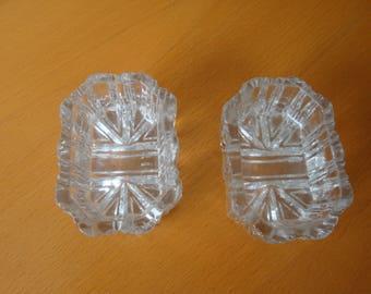 Pair of Glass Open Salt Cellars with Union Jack Pressed Design