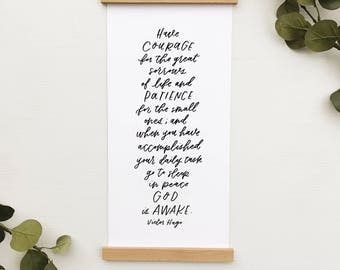 Victor Hugo print, 8x17 with print wood print hangers, hand lettering, Letters and Laurels