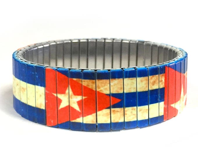 Bracelet Cuban FLAG Aged, Cuba, Stretch Bracelet, Repurpose watch band, Sublimation, Stainless Steel, Wrist Band, gift for friends