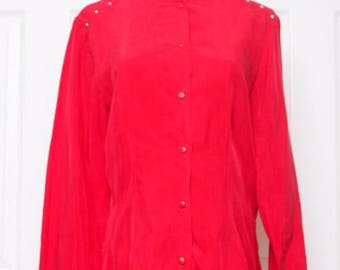 25% OFF VTG 80s Studded Silky Red Button Down Blouse Top S