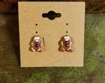 Tiny Handmade Clay Gingerbread Man Christmas novelty Stud Earrings