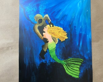 Signed Print of my original Scuba Diver and Mermaid painting