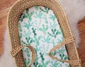 Cactus Moses Basket Sheet - Moses Basket Sheet - Cactus Nursery Decor - Bassinet Sheet - Modern Baby Bedding - Modern Nursery - Cactus Decor