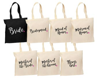 SET of Bridal Tote bags - Bridesmaid gift set - Cotton wedding tote bags - Bachelorette tote bags - Reusable totes - Wedding tote bags
