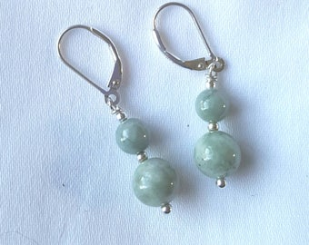 Genuine Burmese and sterling silver leverback drop earrings, 8mm and 6mm green jadeite rounds