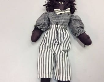 Spft Cloth Doll dressed in Check Top and Striped Pants