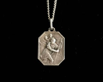 antique french saint christopher necklace st christopher medal