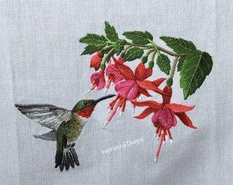 Ruby- Throated Hummingbird and Fuchsia towel