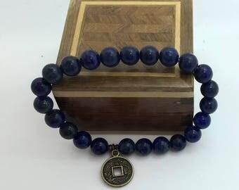 Mens lapis lazuli 8 or 10 mm bracelet 1st choice