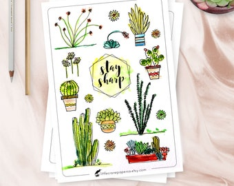 Bullet Journal Stickers, Watercolor Cacti and Succulent Stickers, Printable Stickers, SVG, Silhouette, Cricut, Cut Files, Planner or Bujo