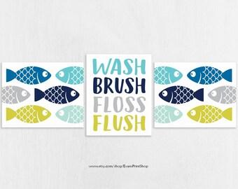 CANVAS Fish Bathroom Wall Decor Set of 3 - Wash Brush Floss Flush - Navy Blue Aqua Gray - Bathroom Rules - Bathroom Decor Kids