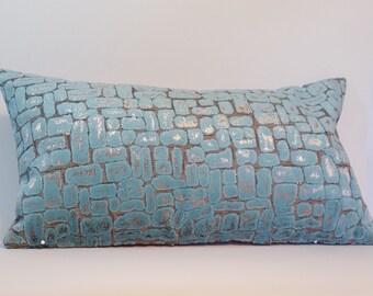 Velvet tile effect cushion/ pillow cover in turquoise