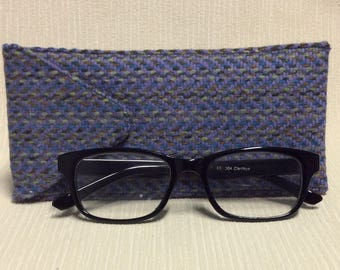 Welsh tweed glasses/spectacles case in blue