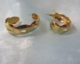 Gold Tone Lightweight Metal, Half Hoop, Pierced Earrings