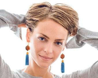 Blue Tassel Earrings, Blue Earrings, Blue Tassel, Statement Earrings, Bohemian Earrings, Long Tassel Earrings, Boho Earrings