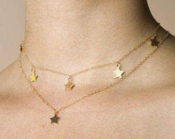 Gold Filled Star Necklace • GF Star Choker • Star Charm Choker Necklace • Celestial Star Moon Sun Necklace • Gold Star Charm • sagha