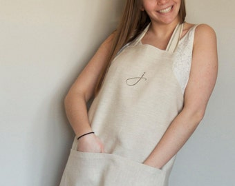 Personalized Linen Apron, Gift for Women, Gift for Him, Monogrammed Apron, Canadian Made Apron, Farmhouse Style Apron, Classic Apron, bridal