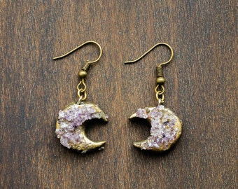 amethyst copper , raw crystal earrings  , half moon earring , amethyst earring , crescent jewelry  , bohemian earrings