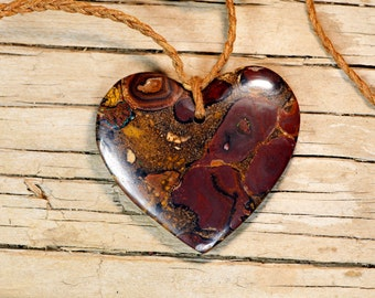 Large Koroit Boulder Opal Heart Pendant on Braided Waxed Cord Necklace - Love Heart