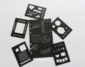 Planner Stencils, Set of 5 Black Mini BUJO Planner Stencils, Bullet journal stencil, Planner Insert Stencil, flex plastic planner stencils