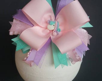 Pastel Unicorn Sparkle Over The Top Boutique Hairbow Headband
