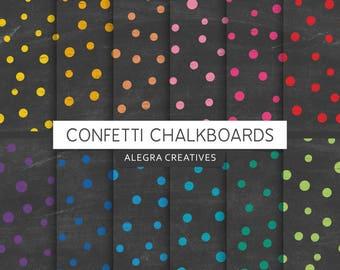 Confetti Chalkboard digital paper, confetti, chalk texture paper, grunge, black chalk, scrapbook papers (Instant Download)