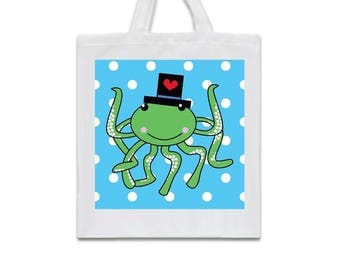 octopus tote bag, octopus shopping bag, octopus canvas bag, octopus bag, nautical tote bag, octopus grocery bag, octopus shopping tote bag