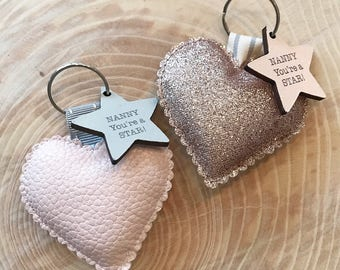 Mother's Day/ teachers gift personalized faux leather or rose gold glitter heart keyring