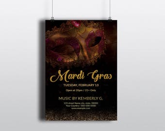 Mardi Gras Invitation Template | Mardi Gras Party Flyer, Mardi Gras Carnival  Flyer | MS Word  Template | Instant download