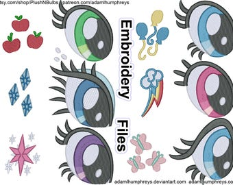 Pony Eye & Cutie Mark Design Embroidery File Set: Applejack, Rarity, Twilight, Pinkie, Rainbow Dash, Fluttershy – 6 Pack, 8 sizes, PES et al